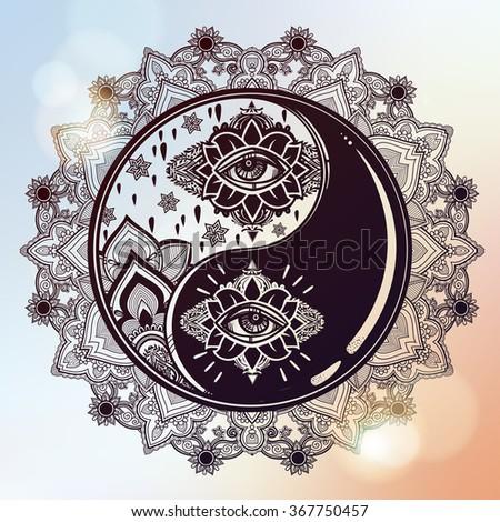 Yin and Yang boho mandala symbol. - stock vector