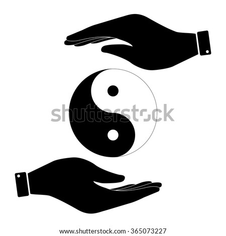 Yin and yang in hand icon, care symbol vector illustration. Flat design style - stock vector