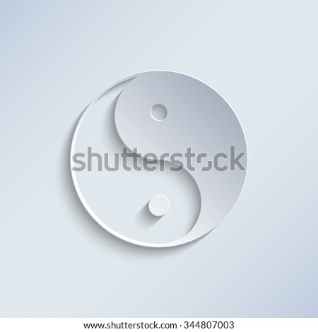 Yin and yang - paper vector icon - stock vector
