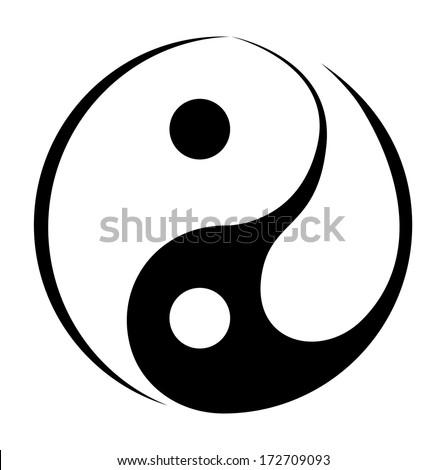 Yin And Yang Simple Symbol - stock vector
