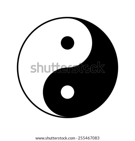 Yin and yang symbol, vector illustration - stock vector