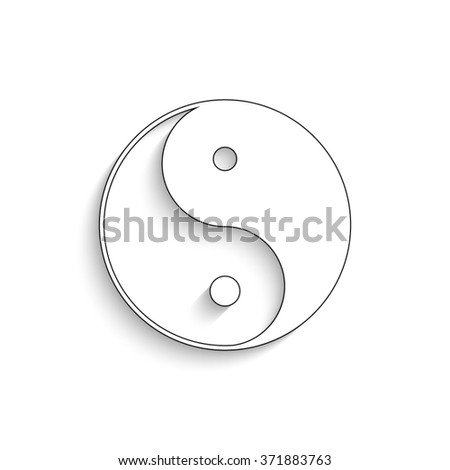 Yin and yang - white vector icon with  shadow - stock vector