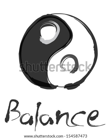 yin yang balance illustration with chinese brush - stock vector