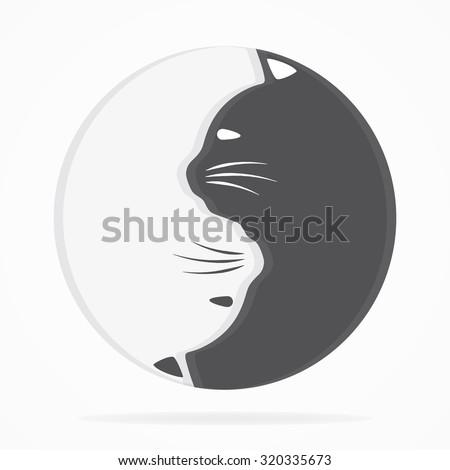 Yin yang cats logo of harmony and balance - stock vector