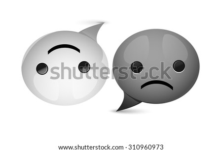 Yin Yang circle like glossy speech bubble, happy and sad, black and white, fuuny harmony, vector  - stock vector