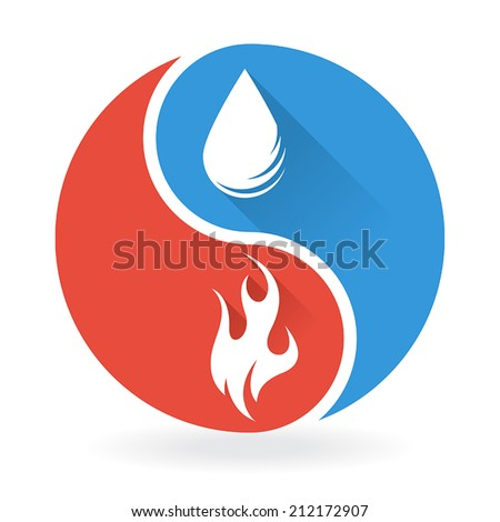 Yin Yang Concept - Water and Fire - stock vector