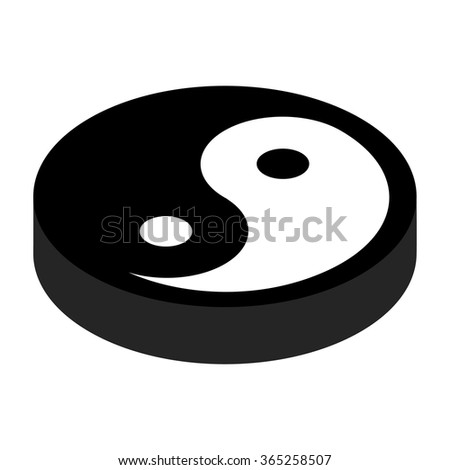 Yin yang 3d isometric icon isolated on a white background - stock vector
