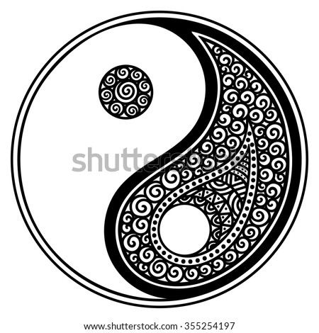 Yin-yang decorative symbol. Hand drawn vintage style design element. - stock vector