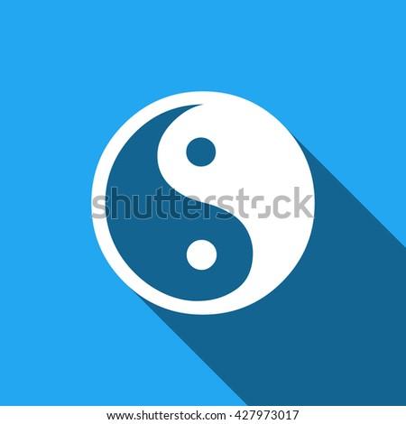 Yin yang flat icon with long shadow. Vector Illustration - stock vector