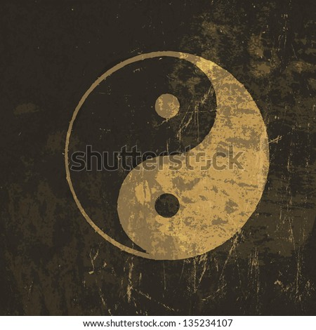 Yin yang grunge icon. With stained texture, vector - stock vector