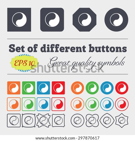 Yin Yang icon sign. Big set of colorful, diverse, high-quality buttons. Vector illustration - stock vector