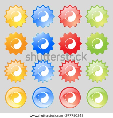 Yin Yang icon sign. Big set of 16 colorful modern buttons for your design. Vector illustration - stock vector