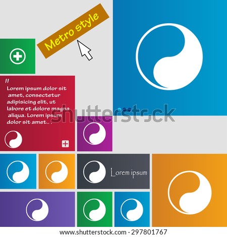 Yin Yang icon sign. buttons. Modern interface website buttons with cursor pointer. Vector illustration - stock vector