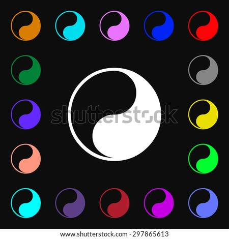 Yin Yang icon sign. Lots of colorful symbols for your design. Vector illustration - stock vector