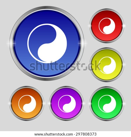 Yin Yang icon sign. Round symbol on bright colourful buttons. Vector illustration - stock vector