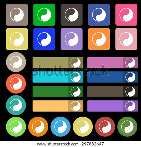 Yin Yang icon sign. Set from twenty seven multicolored flat buttons. Vector illustration - stock vector