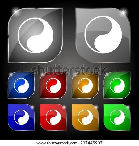 Yin Yang icon sign. Set of ten colorful buttons with glare. Vector illustration - stock vector