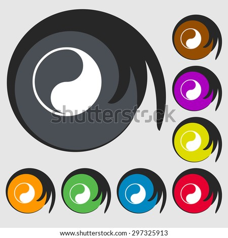 Yin Yang icon sign. Symbol on eight colored buttons. Vector illustration - stock vector