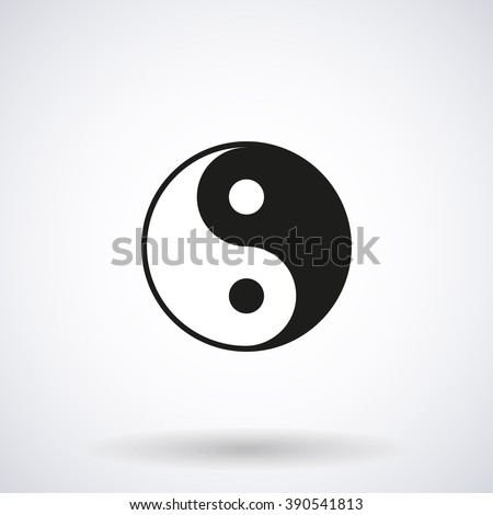 Yin Yang Icon with the shadow isolated on a white background, vector stylish illustration for web design - stock vector