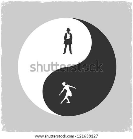 Yin Yang-Male and Female symbol. Concept vector illustration - stock vector