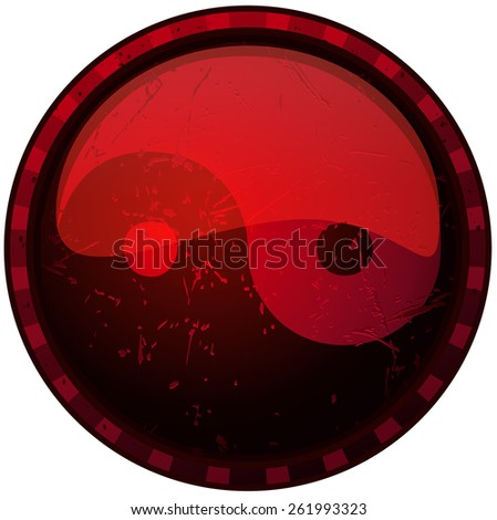 Yin Yang round Red Grunge Sign, Vector Illustration isolated on White Background. - stock vector