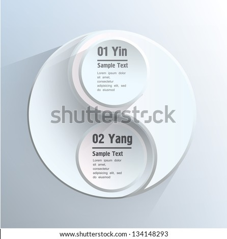 yin yang sign shape  with text on blue background - stock vector