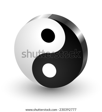 Yin Yang symbol icon isolated on white background - stock vector