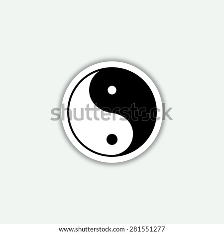 yin yang symbol icon - vector sticker - stock vector