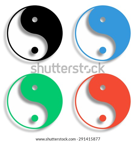 yin yang symbol icon with shadow - colored vector set - stock vector
