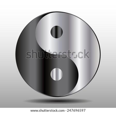 Yin Yang, symbol of harmony and balance. black silver - stock vector