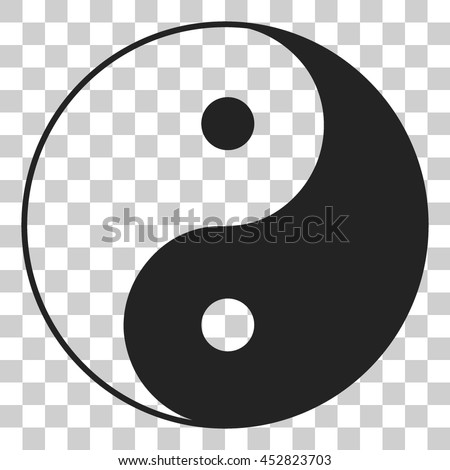 Yin yang symbol of harmony and balance. Flat style icon. Black on transparent background - stock vector
