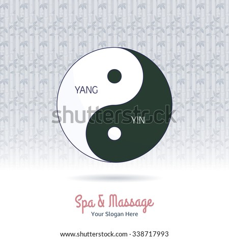 Yin yang symbol of harmony and balance. Line, flat design. Branding identity element on grange background. Concept for beauty salon, massage, cosmetic and spa. Isolated high quality vector graphic. - stock vector