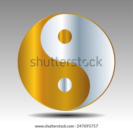 Yin Yang, symbol of harmony and balance. silver gold - stock vector