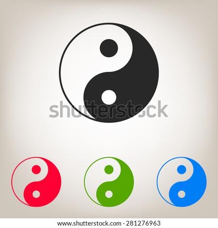 Yin yang symbol of harmony and balance. Vector icon. - stock vector