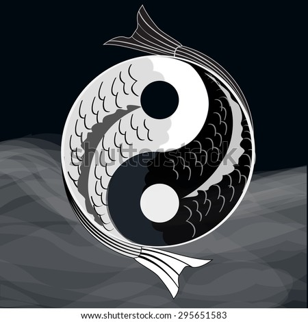 Yin yang symbol of harmony and balance with koi fish.Eps10.Vector. - stock vector