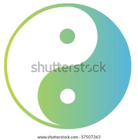 Yin yang symbol oriental representation of duality - stock vector