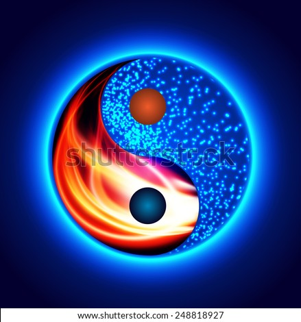 Yin yang symbol. red fire and blue water, opposite, Heating, cooling. - stock vector