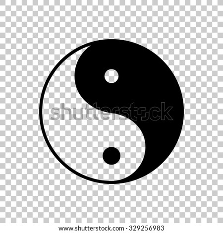 yin yang symbol vector icon - black illustration - stock vector