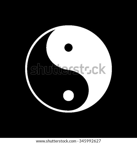 yin yang symbol vector icon isolated on black - stock vector