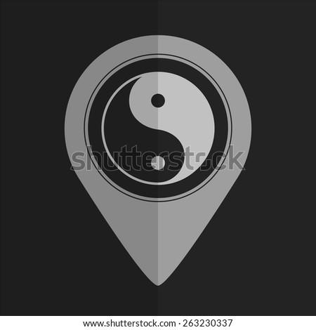 Yin yang symbol vector icon - map pointer. Flat design - stock vector