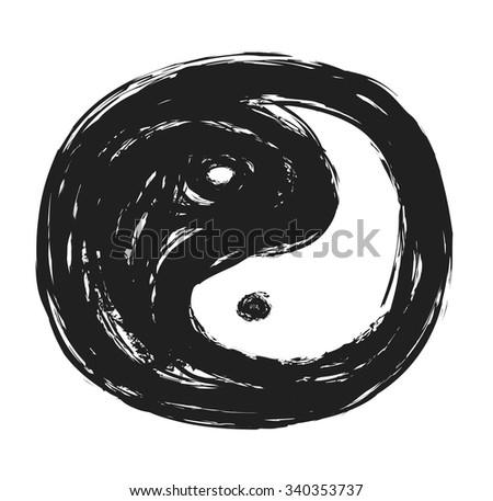 yin yang symbol, vector illustration - stock vector