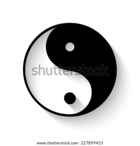 Yin yang symbol - vector illustration with shadow - stock vector