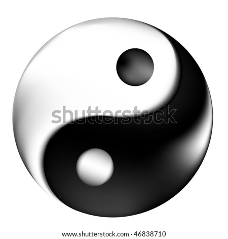 Yin Yang symbol with 3d effect - stock vector