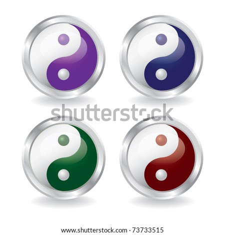 ying yang buttons with shadow - eps10  illustration - stock vector