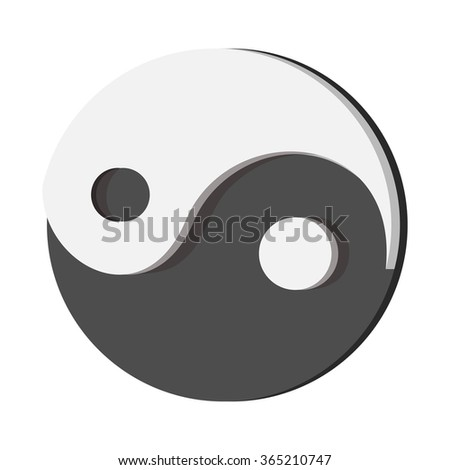 Ying yang cartoon icon on a white background - stock vector