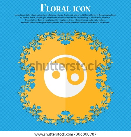 Ying yang . Floral flat design on a blue abstract background with place for your text. Vector illustration - stock vector