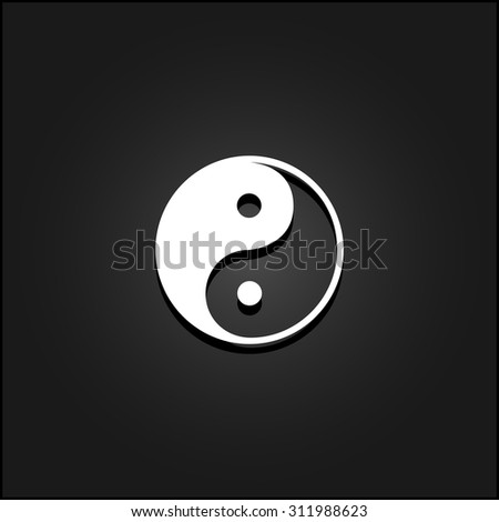 Ying-yang icon of harmony and balance. White flat simple vector icon with shadow on a black background - stock vector