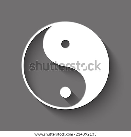 Ying yang icon - white illustration with shadow on gray background - stock vector