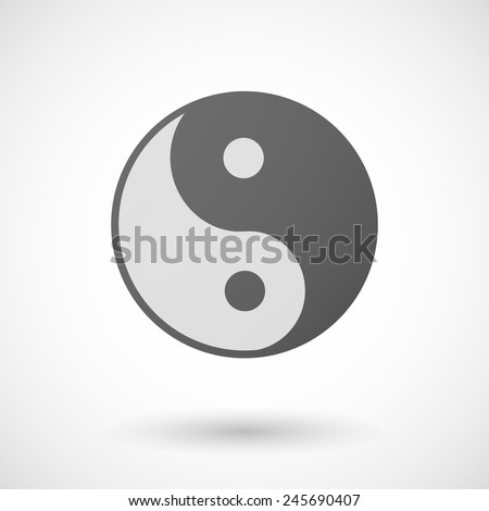 ying yang   icon with shadow on white background - stock vector