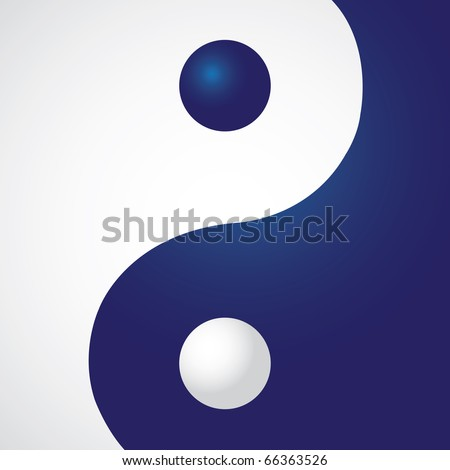 Ying yang in rectangle - illustration - stock vector
